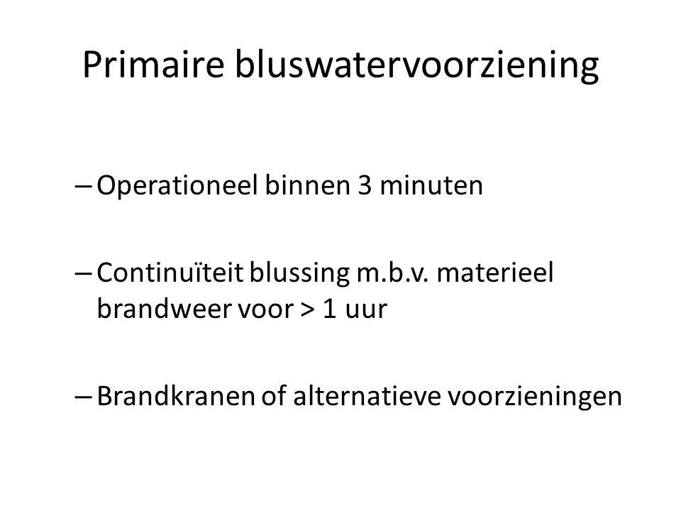 Primaire bluswatervoorziening – Operationeel binnen 3 minuten – Continuïteit blussing m.b.v. materieel brandweer voor > 1 uur – Brandkranen of alterna