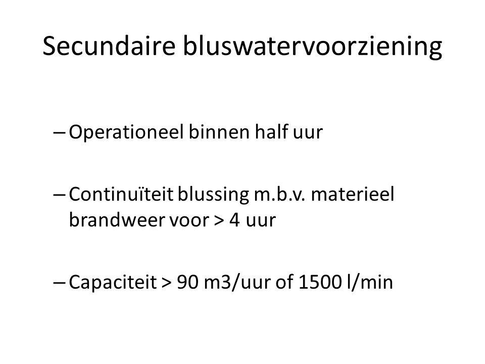 Secundaire bluswatervoorziening – Operationeel binnen half uur – Continuïteit blussing m.b.v. materieel brandweer voor > 4 uur – Capaciteit > 90 m3/uu