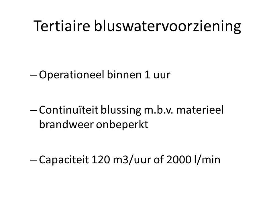 Tertiaire bluswatervoorziening – Operationeel binnen 1 uur – Continuïteit blussing m.b.v. materieel brandweer onbeperkt – Capaciteit 120 m3/uur of 200