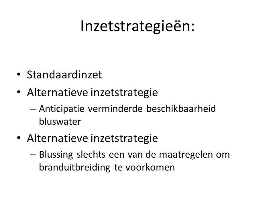 Inzetstrategieën: • Standaardinzet • Alternatieve inzetstrategie – Anticipatie verminderde beschikbaarheid bluswater • Alternatieve inzetstrategie – B