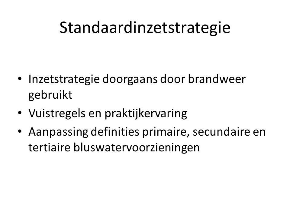 Standaardinzetstrategie • Inzetstrategie doorgaans door brandweer gebruikt • Vuistregels en praktijkervaring • Aanpassing definities primaire, secunda