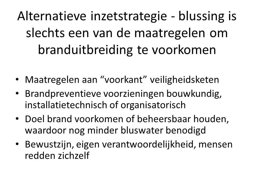 """Alternatieve inzetstrategie - blussing is slechts een van de maatregelen om branduitbreiding te voorkomen • Maatregelen aan """"voorkant"""" veiligheidskete"""