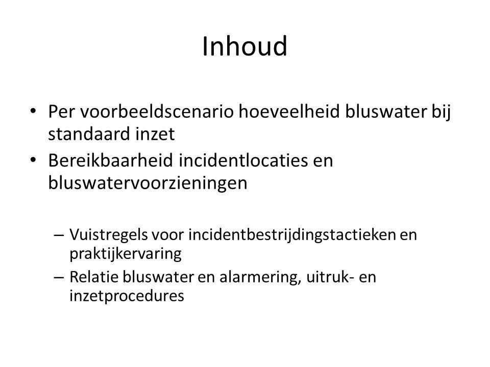 Inhoud • Per voorbeeldscenario hoeveelheid bluswater bij standaard inzet • Bereikbaarheid incidentlocaties en bluswatervoorzieningen – Vuistregels voo