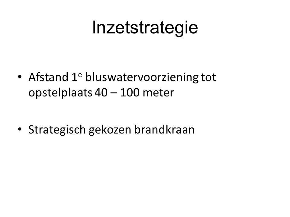 Inzetstrategie • Afstand 1 e bluswatervoorziening tot opstelplaats 40 – 100 meter • Strategisch gekozen brandkraan