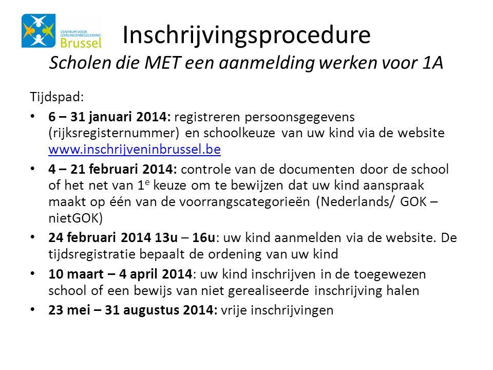 Inschrijvingsprocedure Scholen die MET een aanmelding werken voor 1A Tijdspad: • 6 – 31 januari 2014: registreren persoonsgegevens (rijksregisternumme