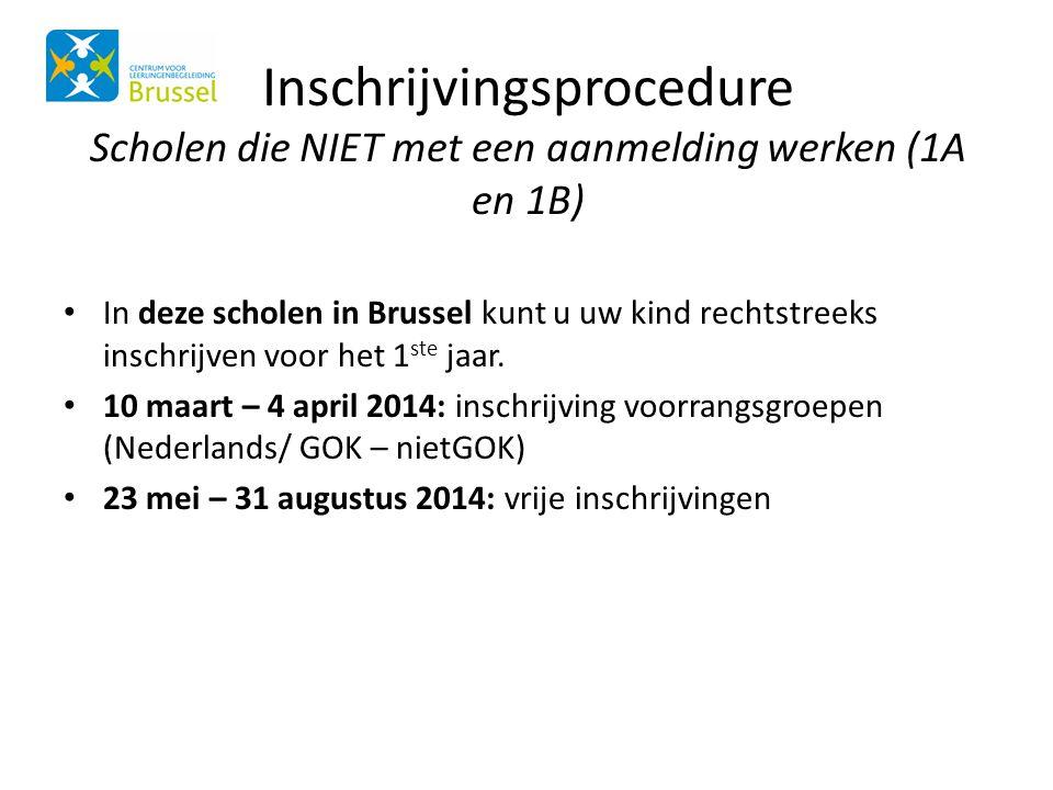 Inschrijvingsprocedure Scholen die NIET met een aanmelding werken (1A en 1B) • In deze scholen in Brussel kunt u uw kind rechtstreeks inschrijven voor