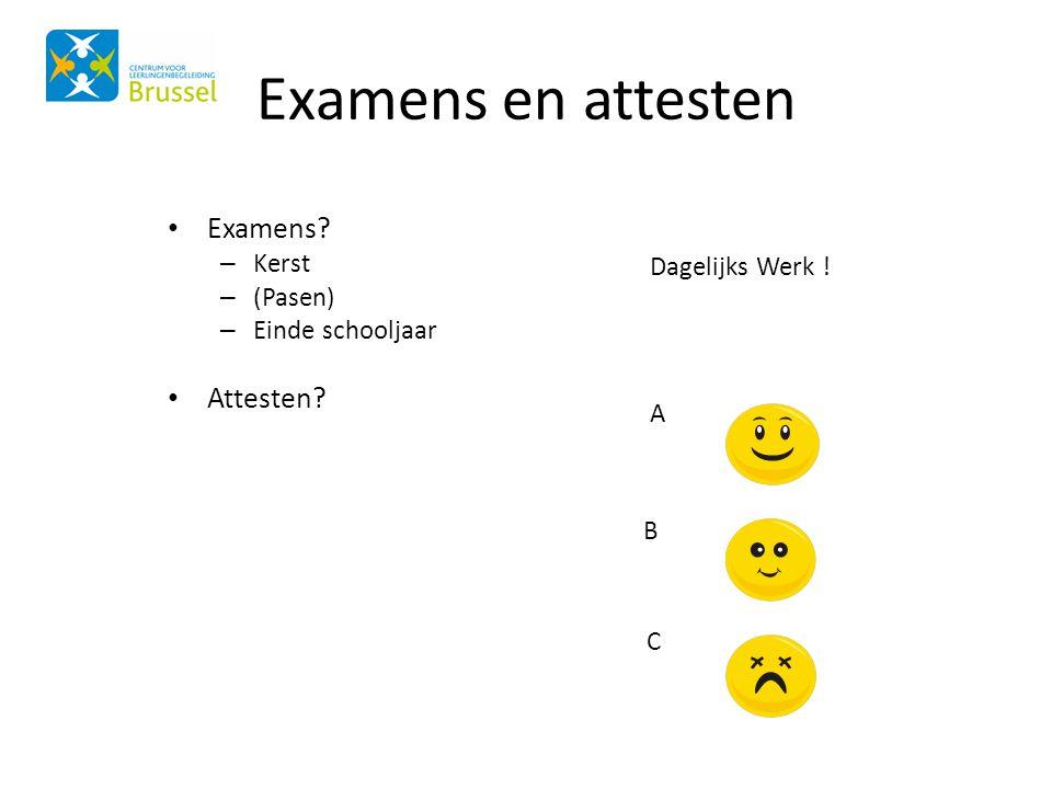 Examens en attesten • Examens? – Kerst – (Pasen) – Einde schooljaar • Attesten? Dagelijks Werk ! A B C