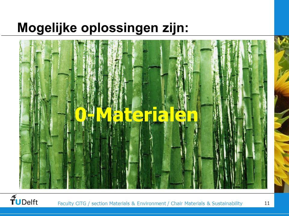11 Faculty CiTG / section Materials & Environment / Chair Materials & Sustainability Mogelijke oplossingen zijn: 0-Materialen