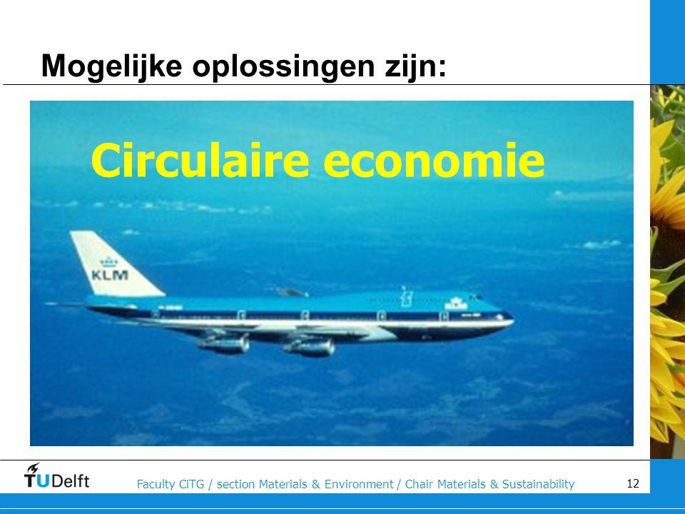 12 Faculty CiTG / section Materials & Environment / Chair Materials & Sustainability Mogelijke oplossingen zijn: Circulaire economie
