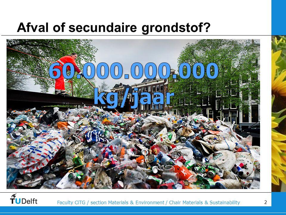 13 Faculty CiTG / section Materials & Environment / Chair Materials & Sustainability Mogelijke oplossingen zijn: Urban mining