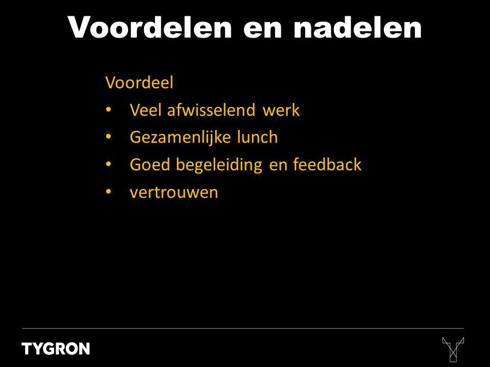 Voordelen en nadelen Voordeel • Veel afwisselend werk • Gezamenlijke lunch • Goed begeleiding en feedback • vertrouwen