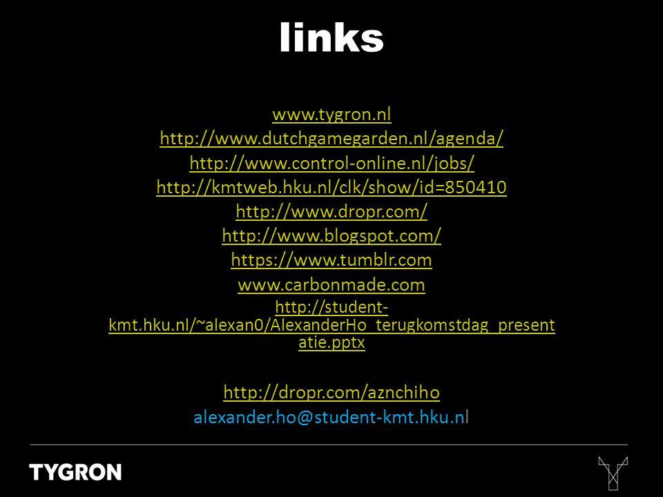 www.tygron.nl http://www.dutchgamegarden.nl/agenda/ http://www.control-online.nl/jobs/ http://kmtweb.hku.nl/clk/show/id=850410 http://www.dropr.com/ h