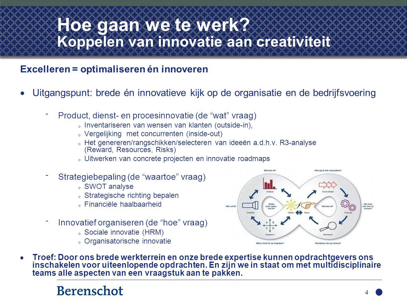 Hoe gaan we te werk? Koppelen van innovatie aan creativiteit Excelleren = optimaliseren én innoveren  Uitgangspunt: brede én innovatieve kijk op de o