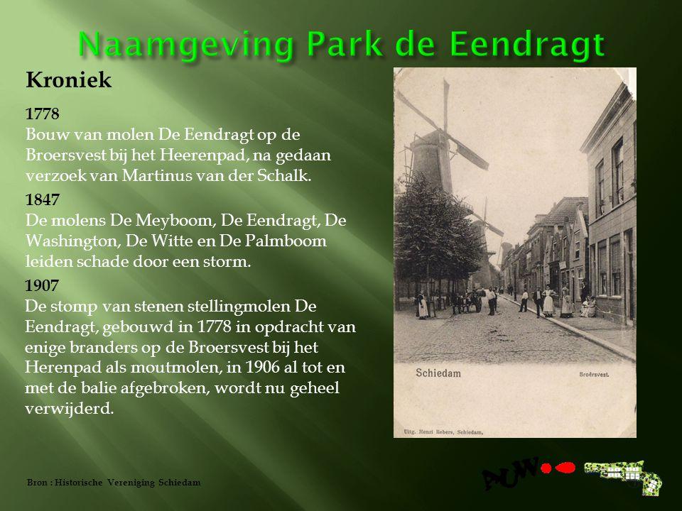 1778 Bouw van molen De Eendragt op de Broersvest bij het Heerenpad, na gedaan verzoek van Martinus van der Schalk.