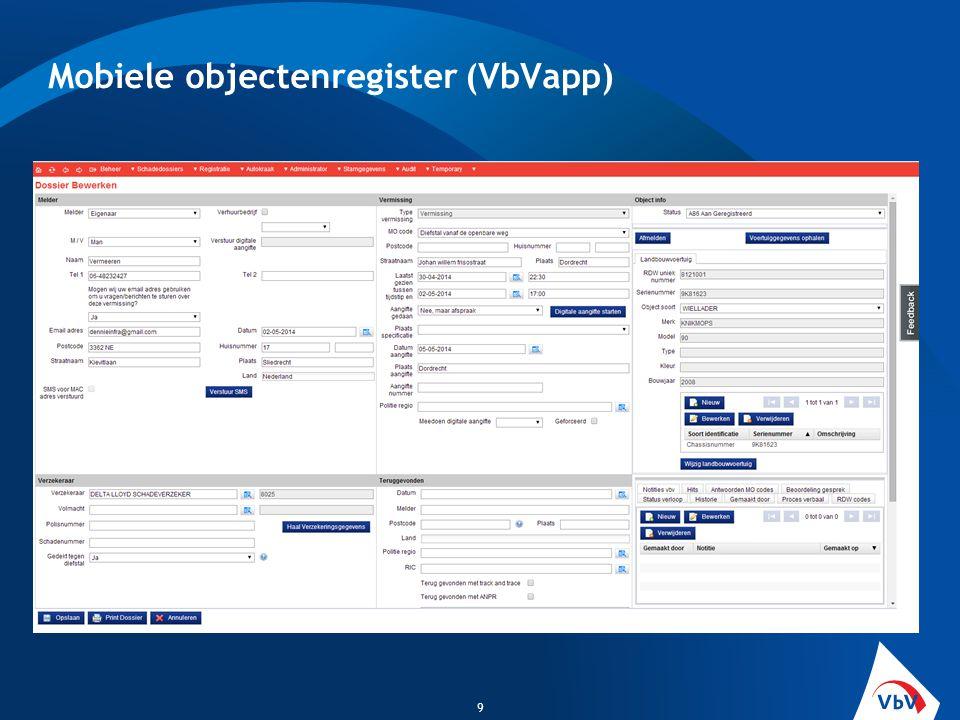 Mobiele objectenregister (VbVapp) 9
