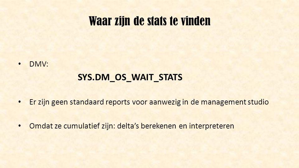 Waar zijn de stats te vinden • DMV: SYS.DM_OS_WAIT_STATS • Er zijn geen standaard reports voor aanwezig in de management studio • Omdat ze cumulatief