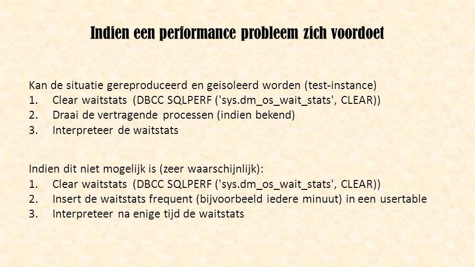 Indien een performance probleem zich voordoet Kan de situatie gereproduceerd en geisoleerd worden (test-instance) 1.Clear waitstats (DBCC SQLPERF ('sy