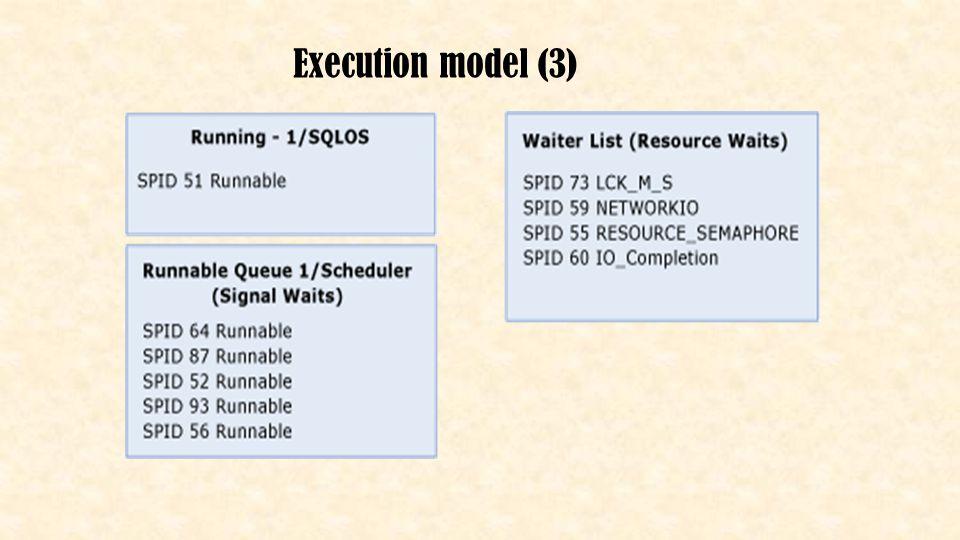 De DMV's • Running list (cpu time) – -> sys.dm_exec_requests (where status = 'running') query(s) welke word(en) uitgevoerd (CPU execution) • Runnable queue (signal wait time (< 25%)) – -> sys.dm_exec_requests (where status = 'runnable') query(s) die uitgevoerd kunnen worden maar wachten op CPU-tijd • Waiter list (query wait time) – -> sys.dm_os_waiting_tasks query(s) die wachten op een resource