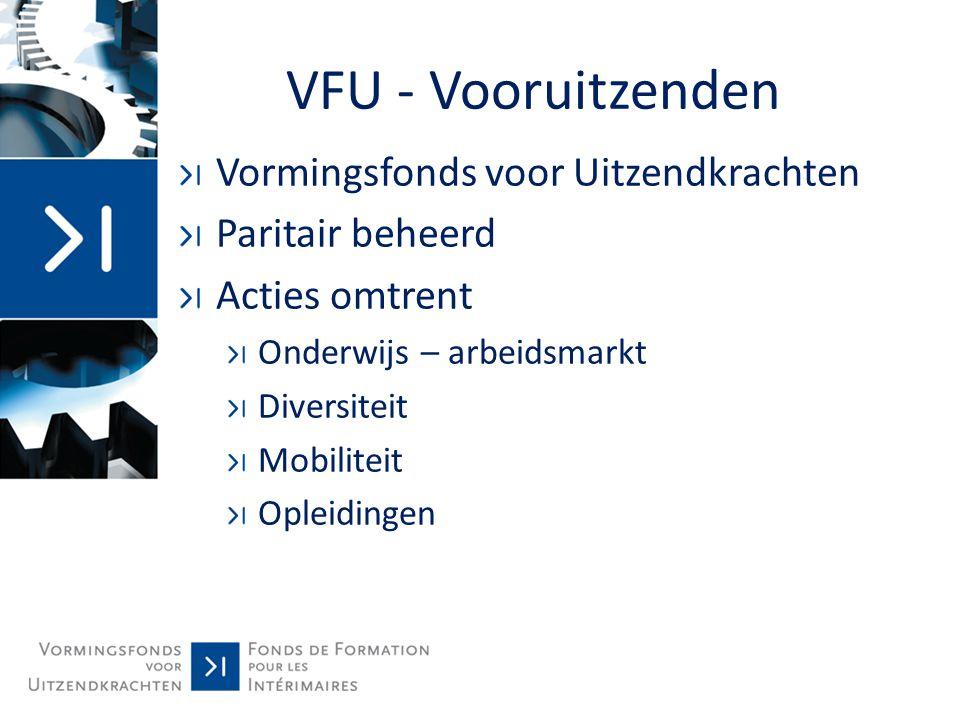 VFU - Vooruitzenden Vormingsfonds voor Uitzendkrachten Paritair beheerd Acties omtrent Onderwijs – arbeidsmarkt Diversiteit Mobiliteit Opleidingen