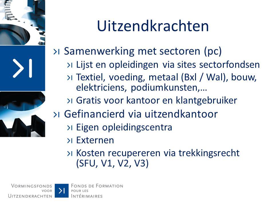 Samenwerking sectoren Uitzendkrachten: aantal dossiers + uren 2012 Sector Paritair Comité # opleidingsdossiers # uren # uitzendkrachten IPVPC 118-2207225460,15420 VormelekPSC 149.01103111892 IVOC PC 109-215 en PC 110 2773993,5265 FVBPC 12467116056 IFPM (Wallonië + Brussel) PC 111-20920373,3018 TOTAAL 118912.104,95851
