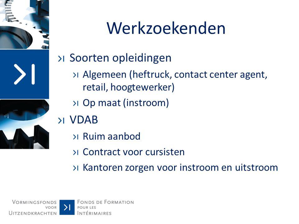 Werkzoekenden Soorten opleidingen Algemeen (heftruck, contact center agent, retail, hoogtewerker) Op maat (instroom) VDAB Ruim aanbod Contract voor cu
