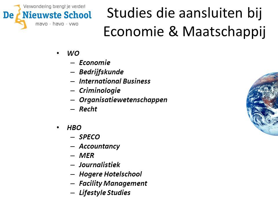 Studies die aansluiten bij Economie & Maatschappij • WO – Economie – Bedrijfskunde – International Business – Criminologie – Organisatiewetenschappen