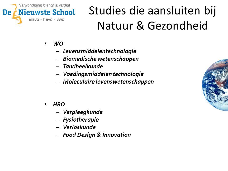 Studies die aansluiten bij Natuur & Gezondheid • WO – Levensmiddelentechnologie – Biomedische wetenschappen – Tandheelkunde – Voedingsmiddelen technol