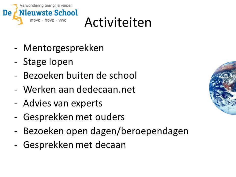 Activiteiten -Mentorgesprekken -Stage lopen -Bezoeken buiten de school -Werken aan dedecaan.net -Advies van experts -Gesprekken met ouders -Bezoeken o