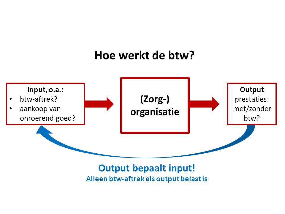Hoe werkt de btw? (Zorg-) organisatie Output prestaties: met/zonder btw? Input, o.a.: • btw-aftrek? • aankoop van onroerend goed? Output bepaalt input