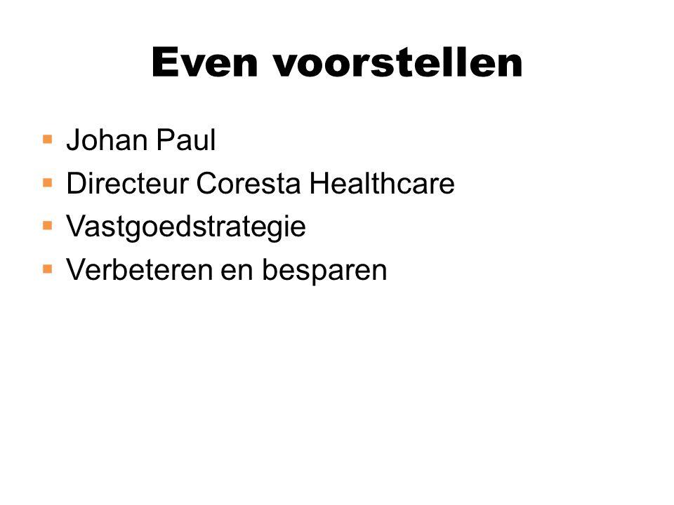  Johan Paul  Directeur Coresta Healthcare  Vastgoedstrategie  Verbeteren en besparen Even voorstellen
