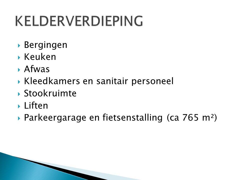  Bergingen  Keuken  Afwas  Kleedkamers en sanitair personeel  Stookruimte  Liften  Parkeergarage en fietsenstalling (ca 765 m²)