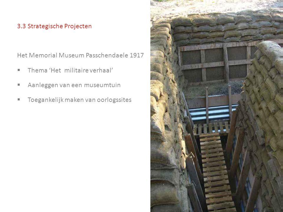 3.3 Strategische Projecten Het Memorial Museum Passchendaele 1917  Thema 'Het militaire verhaal'  Aanleggen van een museumtuin  Toegankelijk maken van oorlogssites