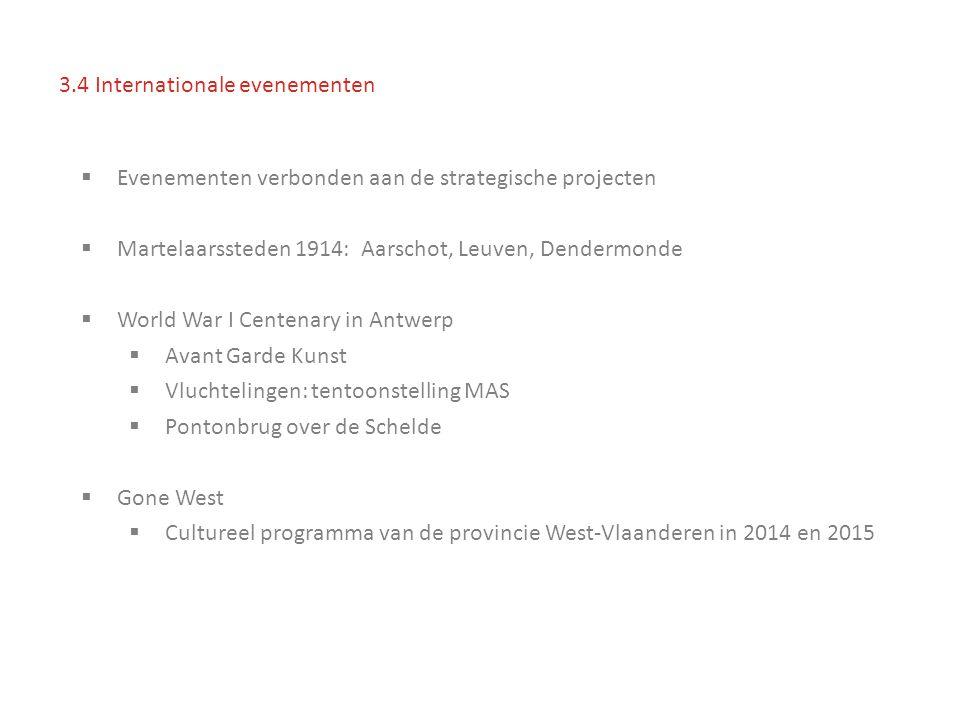  Evenementen verbonden aan de strategische projecten  Martelaarssteden 1914: Aarschot, Leuven, Dendermonde  World War I Centenary in Antwerp  Avant Garde Kunst  Vluchtelingen: tentoonstelling MAS  Pontonbrug over de Schelde  Gone West  Cultureel programma van de provincie West-Vlaanderen in 2014 en 2015 3.4 Internationale evenementen