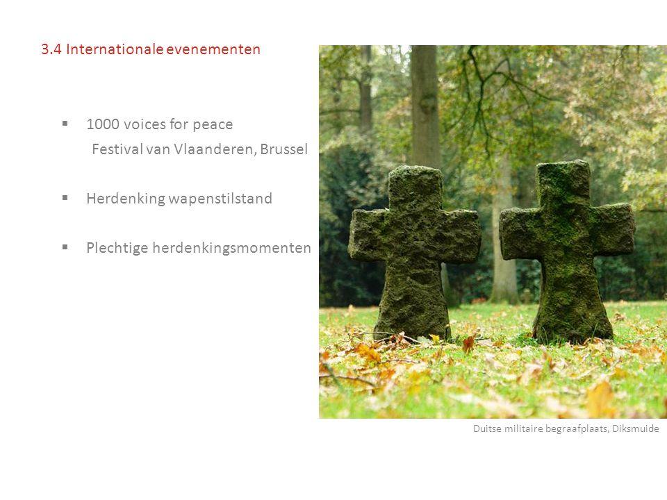  1000 voices for peace Festival van Vlaanderen, Brussel  Herdenking wapenstilstand  Plechtige herdenkingsmomenten 3.4 Internationale evenementen Duitse militaire begraafplaats, Diksmuide
