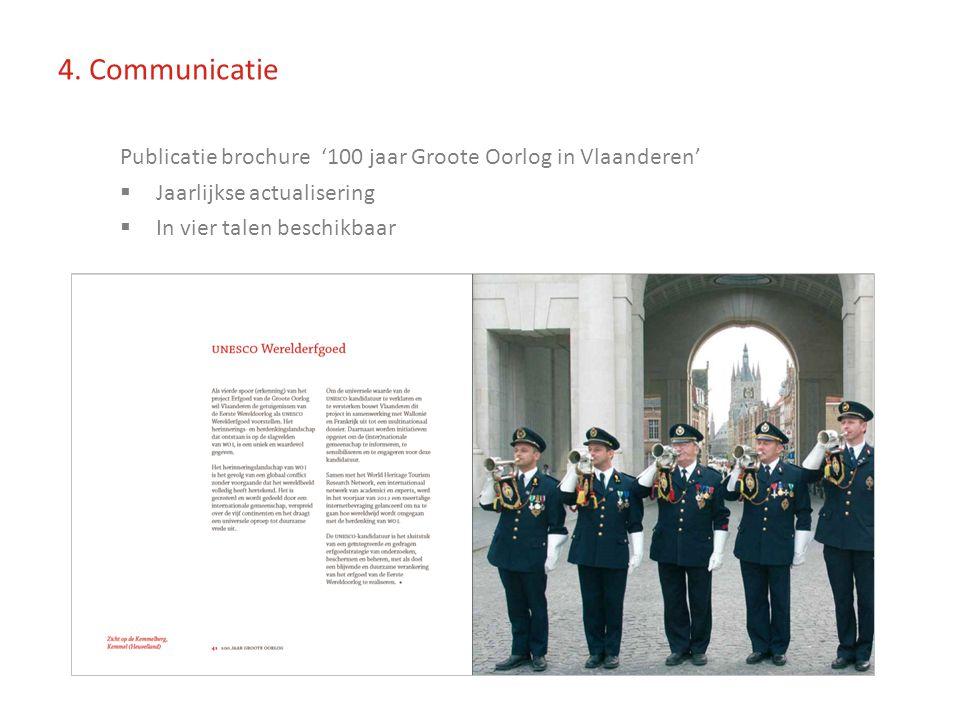 Publicatie brochure '100 jaar Groote Oorlog in Vlaanderen'  Jaarlijkse actualisering  In vier talen beschikbaar 4.