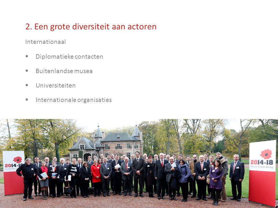 2. Een grote diversiteit aan actoren Internationaal  Diplomatieke contacten  Buitenlandse musea  Universiteiten  Internationale organisaties
