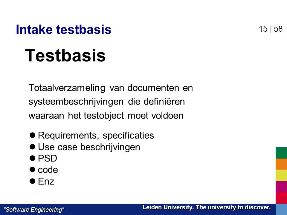 "Leiden University. The university to discover. Leiden University. The university to discover. ""Software Engineering"" 15 | 58 Intake testbasis Testbasi"