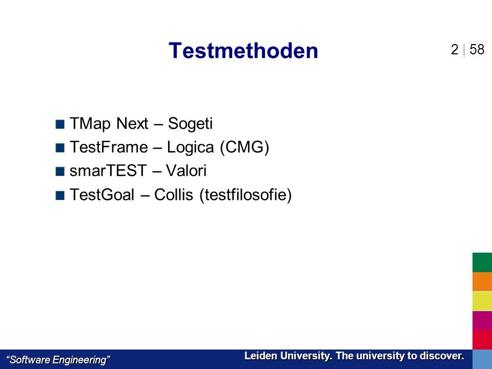 "Leiden University. The university to discover. Leiden University. The university to discover. ""Software Engineering"" 2 | 58 Testmethoden TMap Next – S"