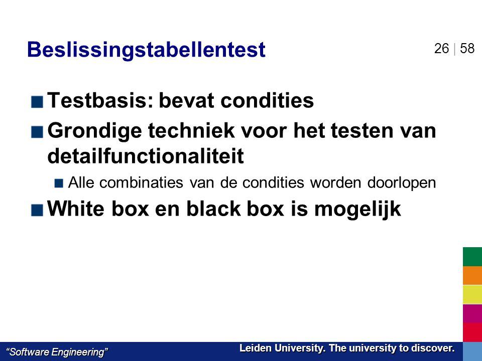 "Leiden University. The university to discover. Leiden University. The university to discover. ""Software Engineering"" 26 | 58 Beslissingstabellentest T"