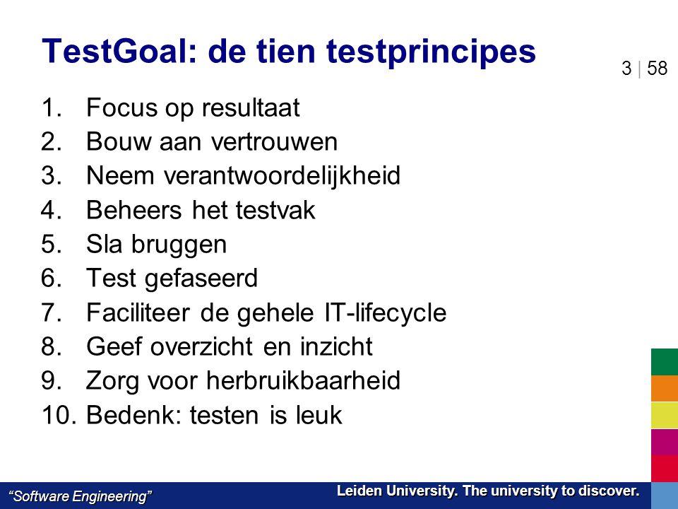 "Leiden University. The university to discover. Leiden University. The university to discover. ""Software Engineering"" 3 | 58 TestGoal: de tien testprin"