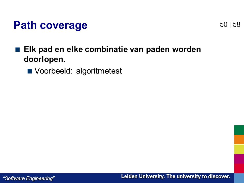 "Leiden University. The university to discover. Leiden University. The university to discover. ""Software Engineering"" 50 