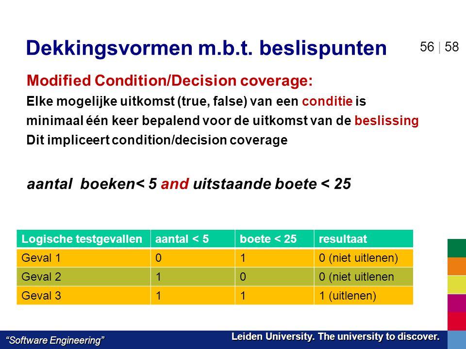 "Leiden University. The university to discover. Leiden University. The university to discover. ""Software Engineering"" 56 | 58 Dekkingsvormen m.b.t. bes"