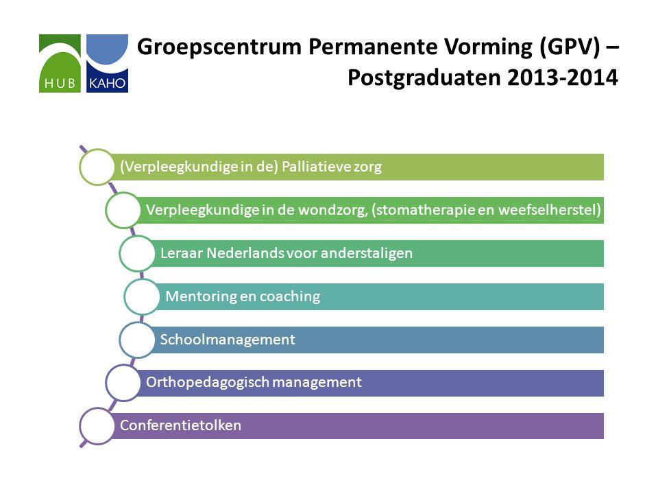 Groepscentrum Permanente Vorming (GPV) – Postgraduaten 2013-2014 (Verpleegkundige in de) Palliatieve zorg Verpleegkundige in de wondzorg, (stomatherap