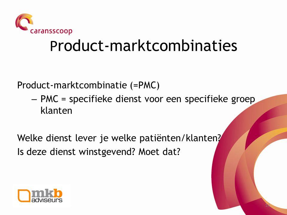 14 P roduct-marktcombinaties Product-marktcombinatie (=PMC) – PMC = specifieke dienst voor een specifieke groep klanten Welke dienst lever je welke pa