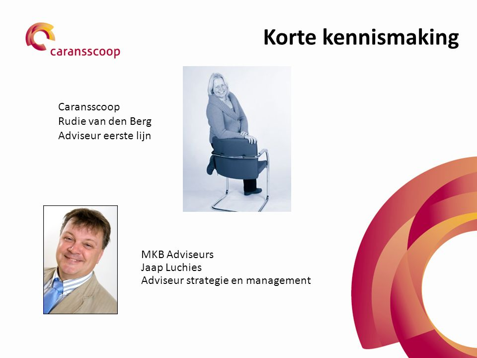Korte kennismaking MKB Adviseurs Jaap Luchies Adviseur strategie en management Caransscoop Rudie van den Berg Adviseur eerste lijn