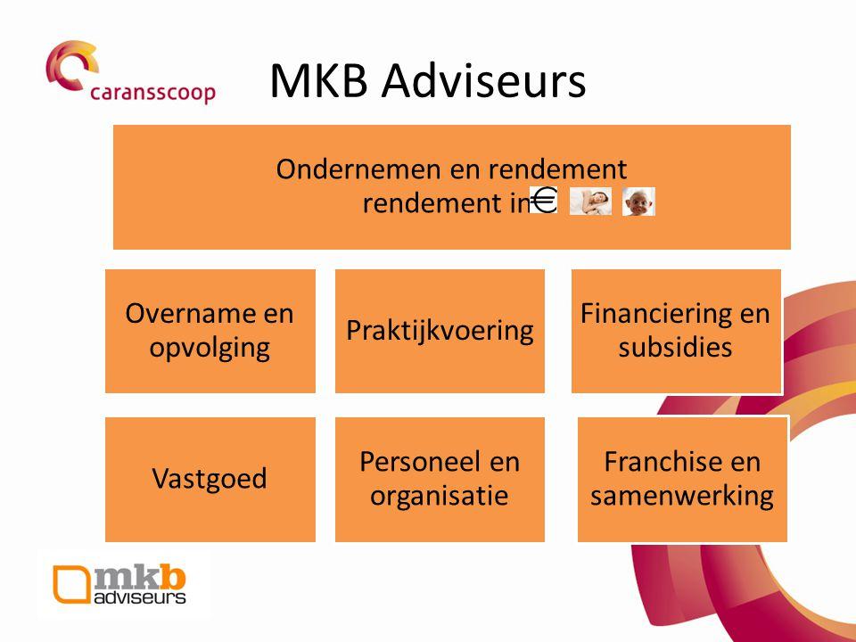 MKB Adviseurs Overname en opvolging Praktijkvoering Financiering en subsidies Vastgoed Personeel en organisatie Franchise en samenwerking Ondernemen e