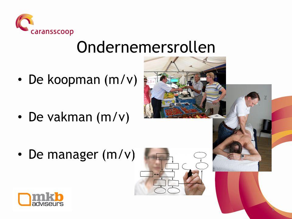 8 Ondernemersrollen • De koopman (m/v) • De vakman (m/v) • De manager (m/v)