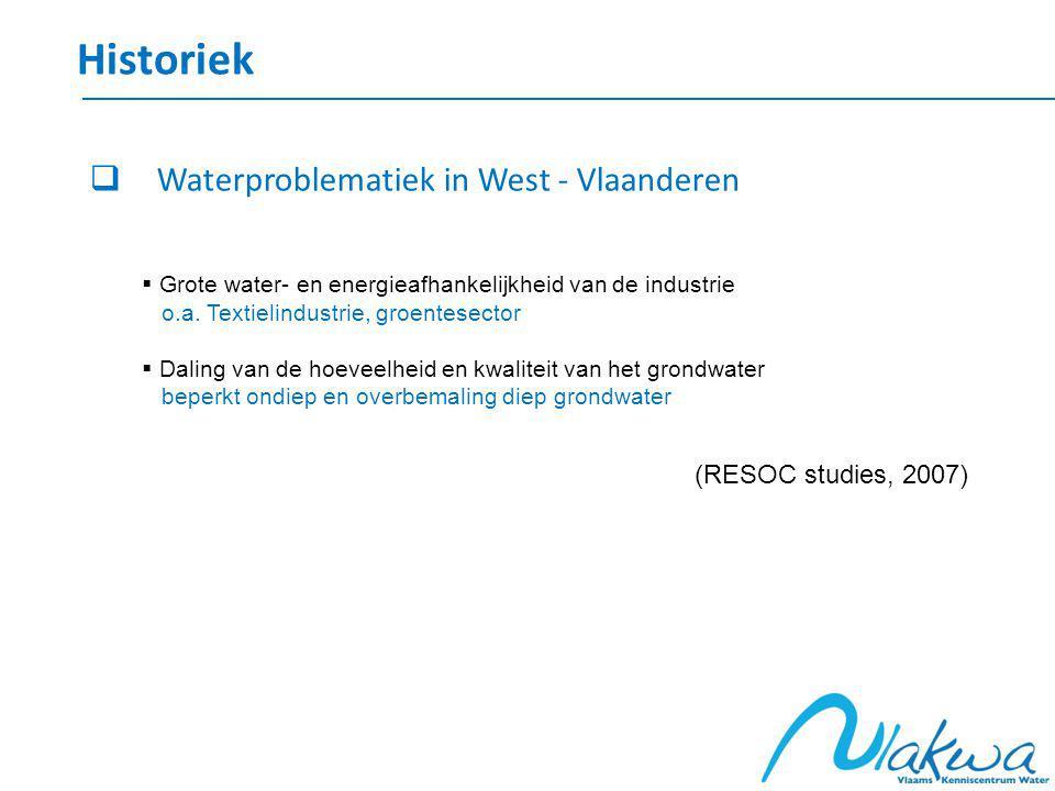 Historiek  Waterproblematiek in West - Vlaanderen  Grote water- en energieafhankelijkheid van de industrie o.a.