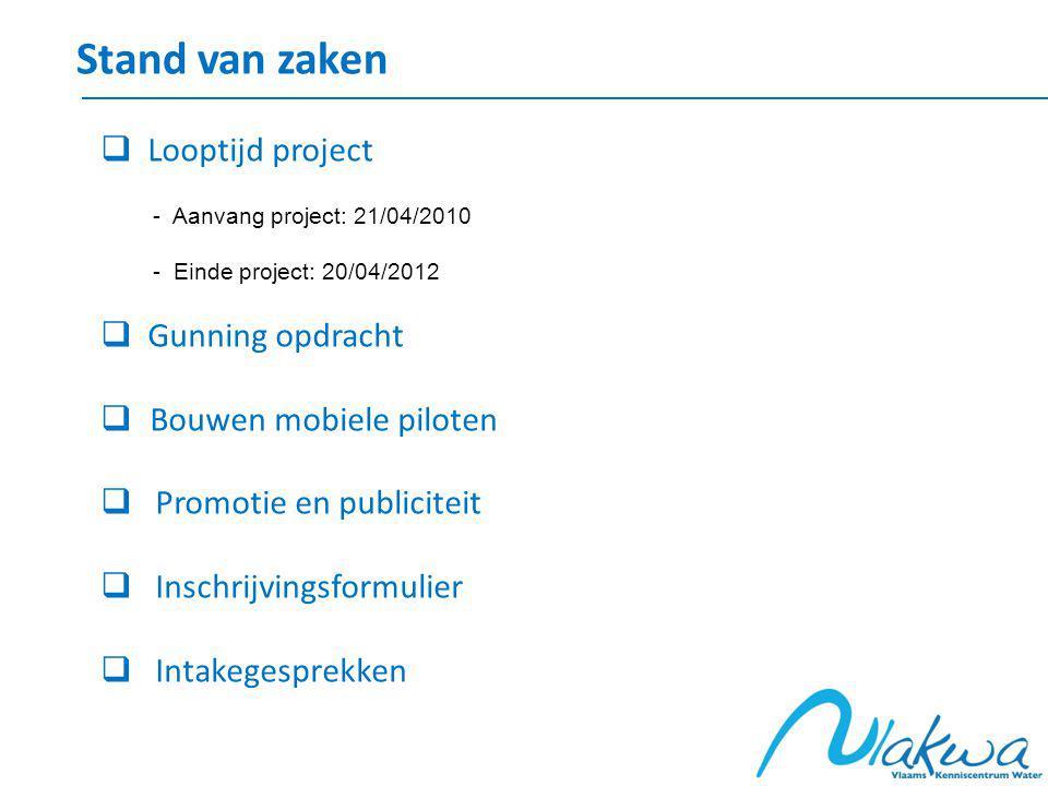 Stand van zaken  Looptijd project - Aanvang project: 21/04/2010 - Einde project: 20/04/2012  Gunning opdracht  Bouwen mobiele piloten  Promotie en publiciteit  Inschrijvingsformulier  Intakegesprekken