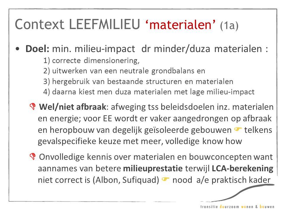 Context LEEFMILIEU 'materialen' (1a) •Doel: min. milieu-impact dr minder/duza materialen : 1) correcte dimensionering, 2) uitwerken van een neutrale g